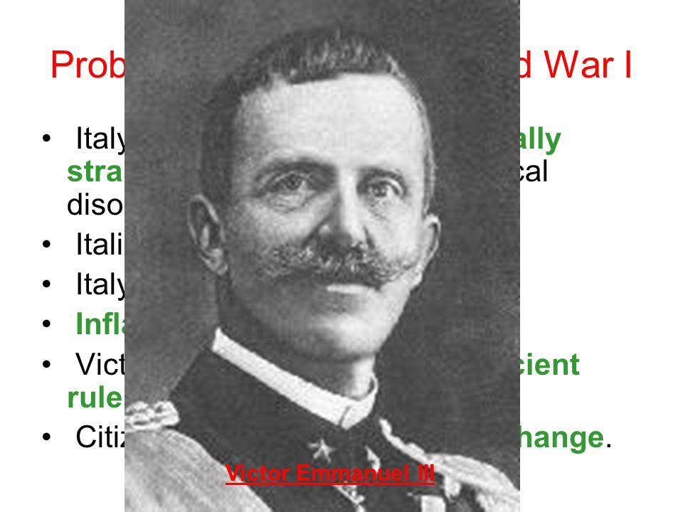 Problems In Italy After World War I