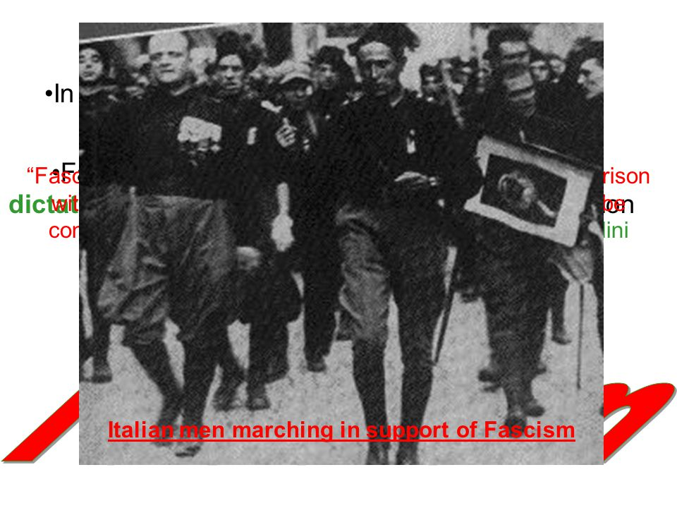 Italian men marching in support of Fascism