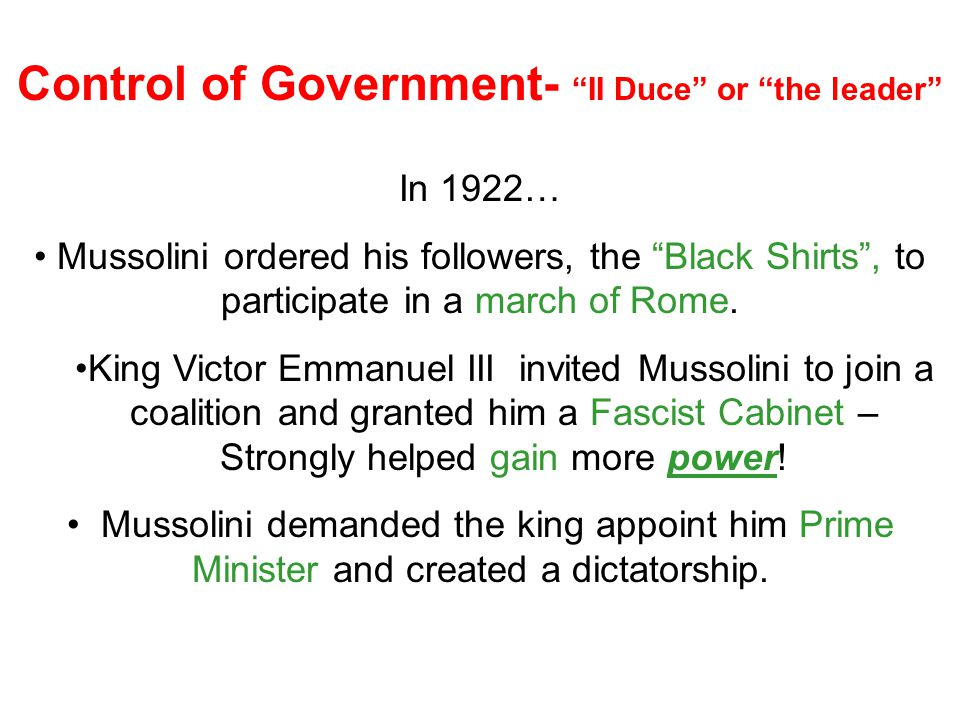 Control of Government- II Duce or the leader