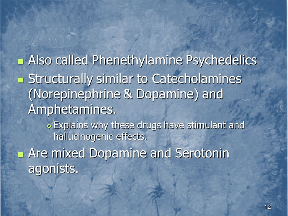 Also called Phenethylamine Psychedelics