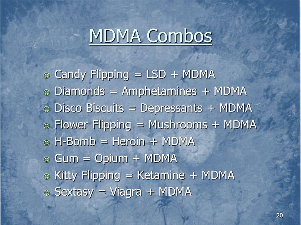 MDMA Combos Candy Flipping = LSD + MDMA Diamonds = Amphetamines + MDMA