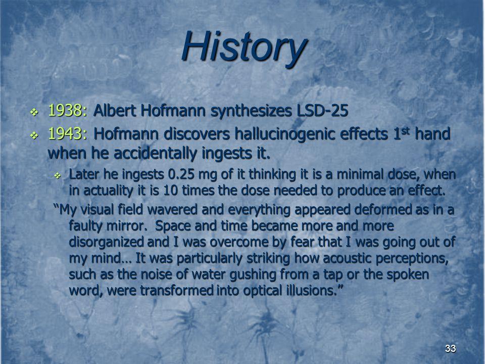 History 1938: Albert Hofmann synthesizes LSD-25