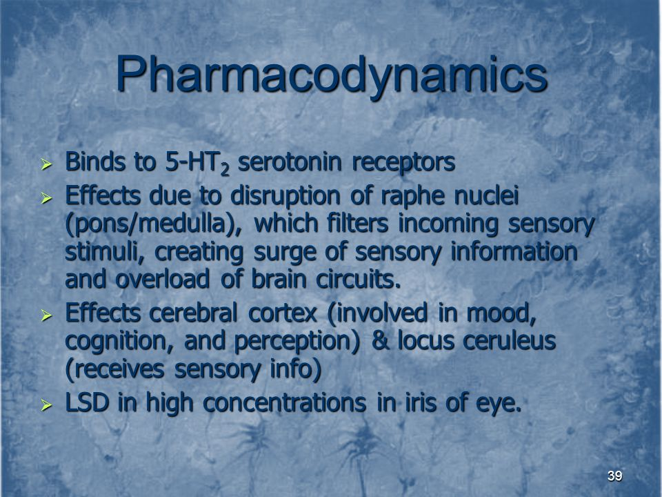 Pharmacodynamics Binds to 5-HT2 serotonin receptors