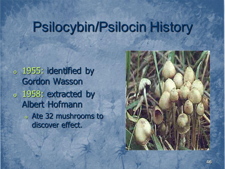 Psilocybin/Psilocin History