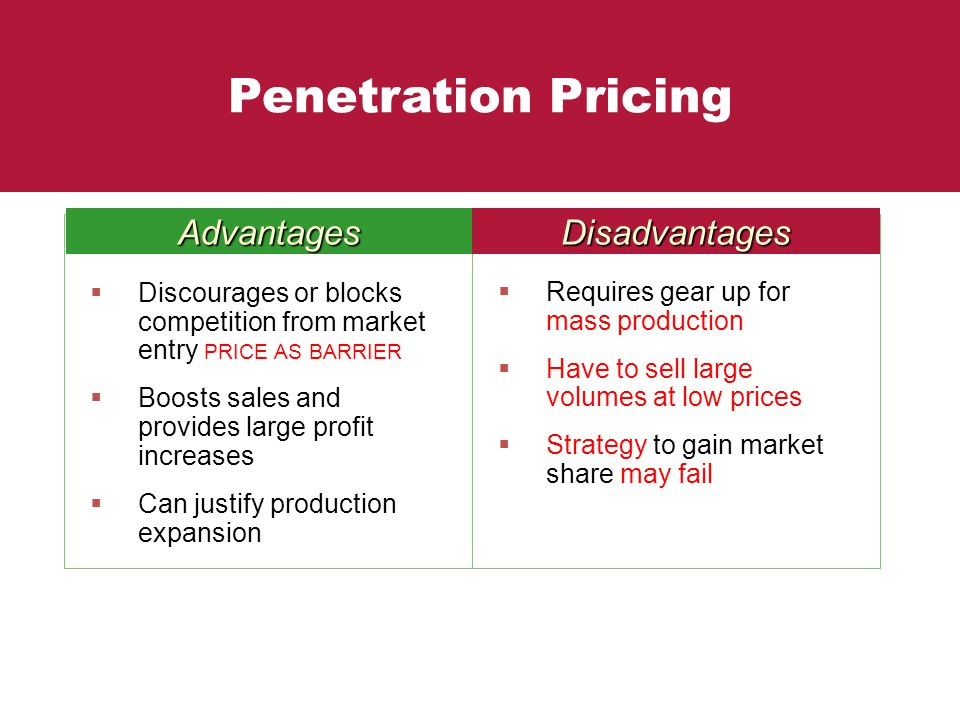 Accept. opinion, penetration price strategy right!