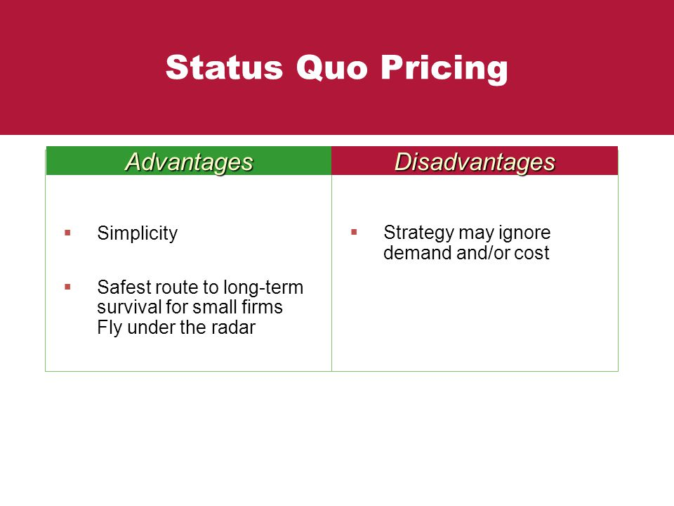 Status Quo Pricing Advantages Disadvantages Simplicity