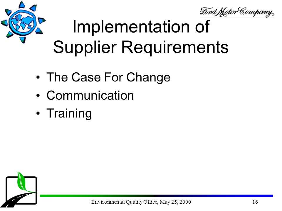 Implementation of Supplier Requirements