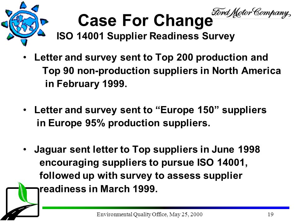 Case For Change ISO 14001 Supplier Readiness Survey