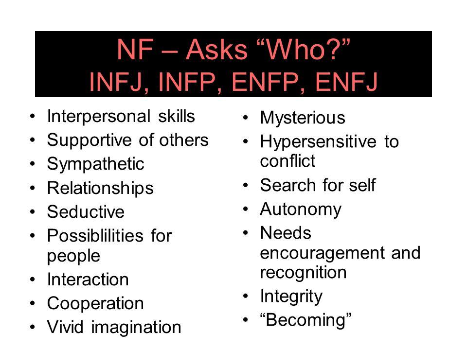 NF – Asks Who INFJ, INFP, ENFP, ENFJ