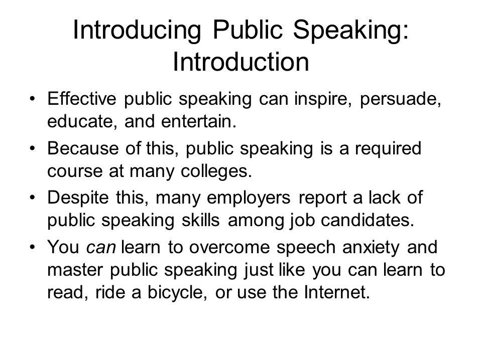 Introducing Public Speaking: Introduction