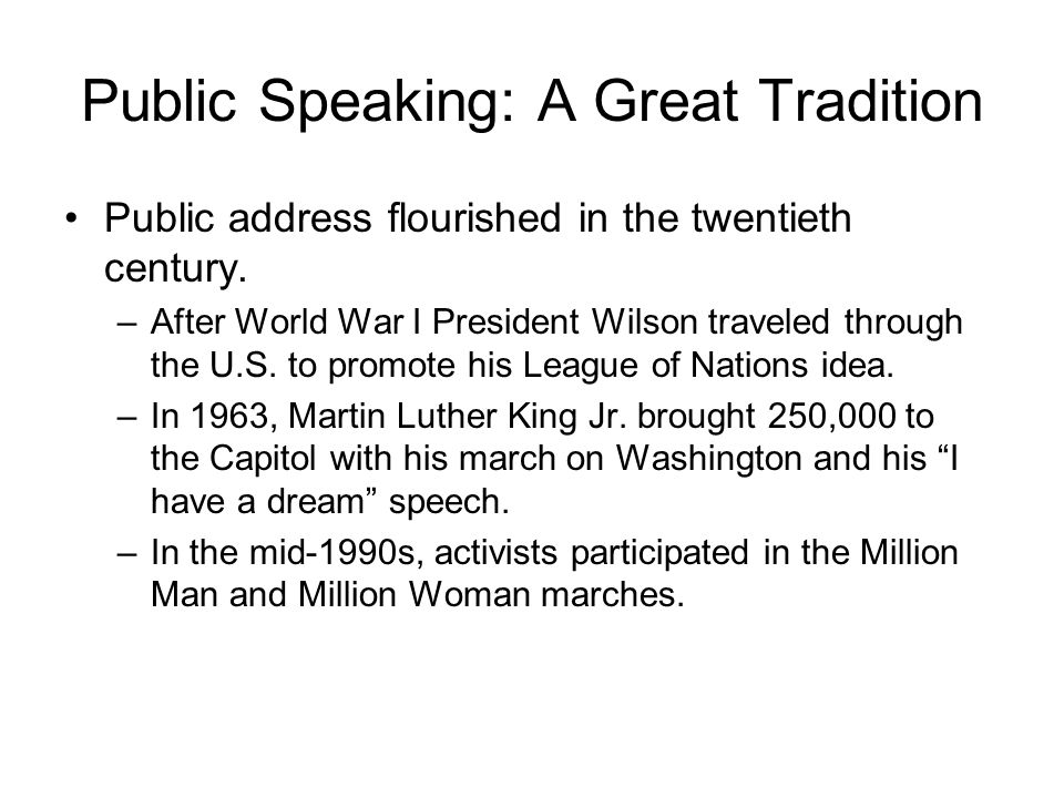 Public Speaking: A Great Tradition