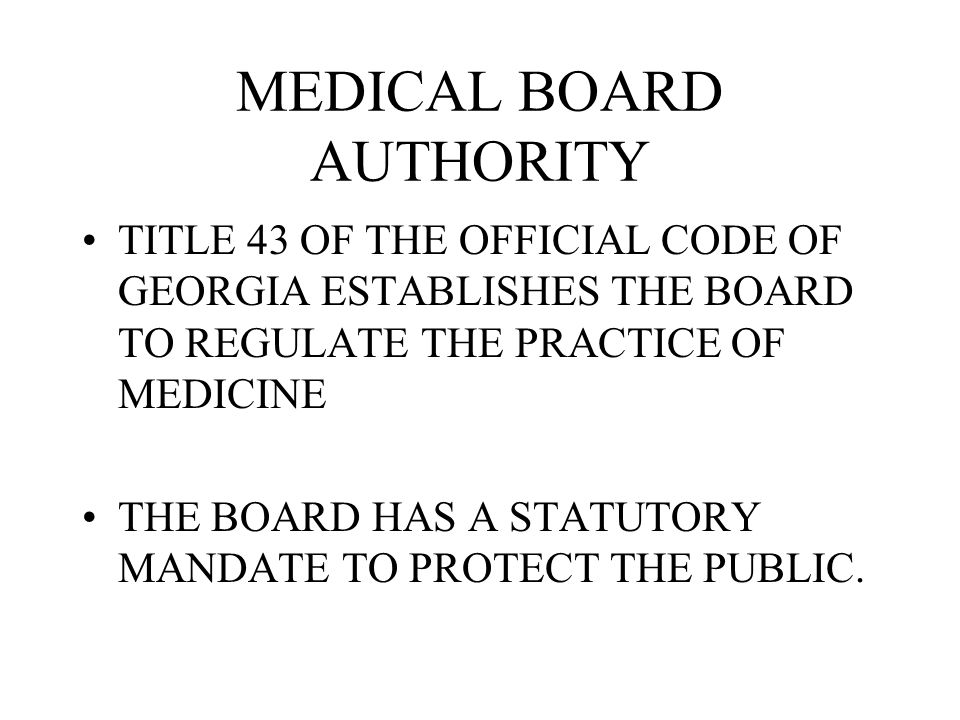 MEDICAL BOARD AUTHORITY