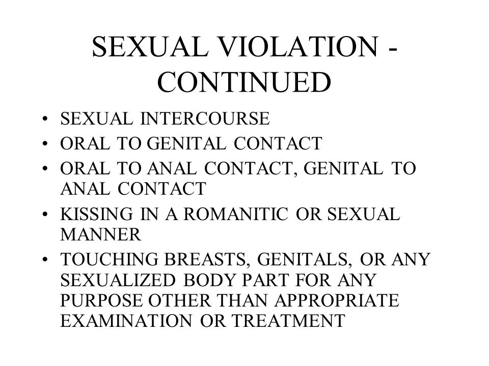SEXUAL VIOLATION - CONTINUED
