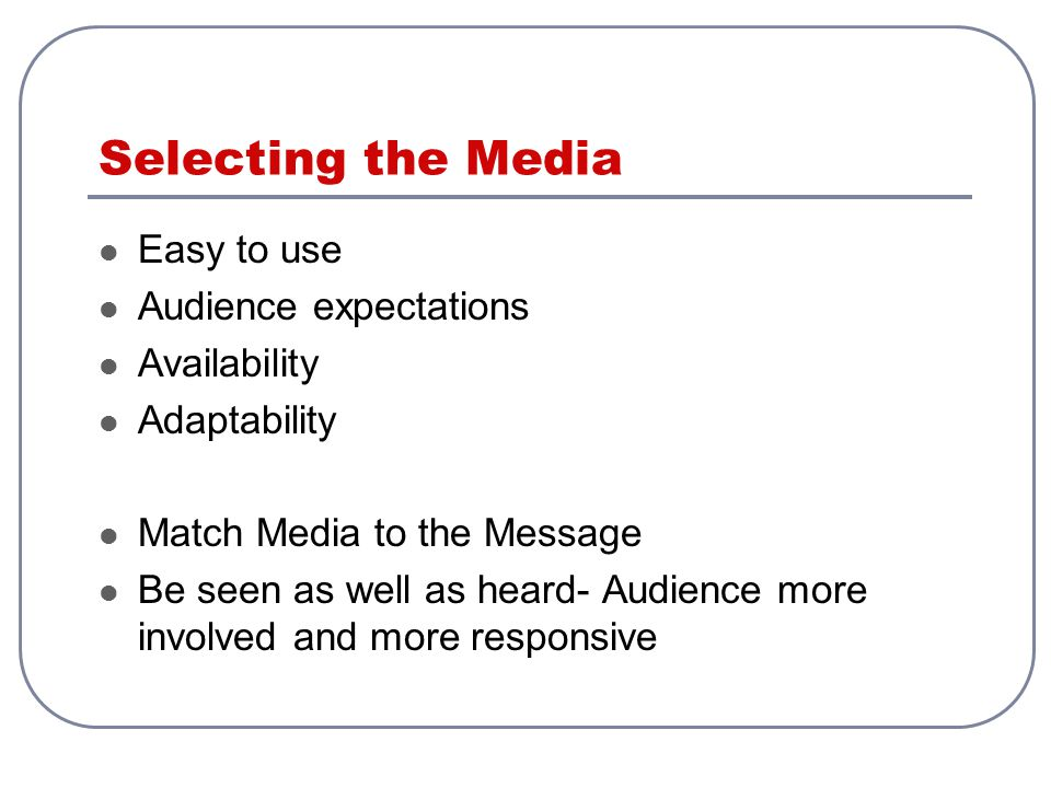 Selecting the Media Easy to use Audience expectations Availability