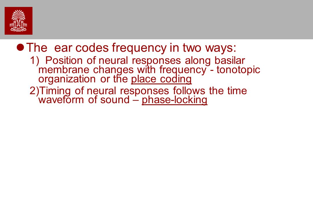 The ear codes frequency in two ways: