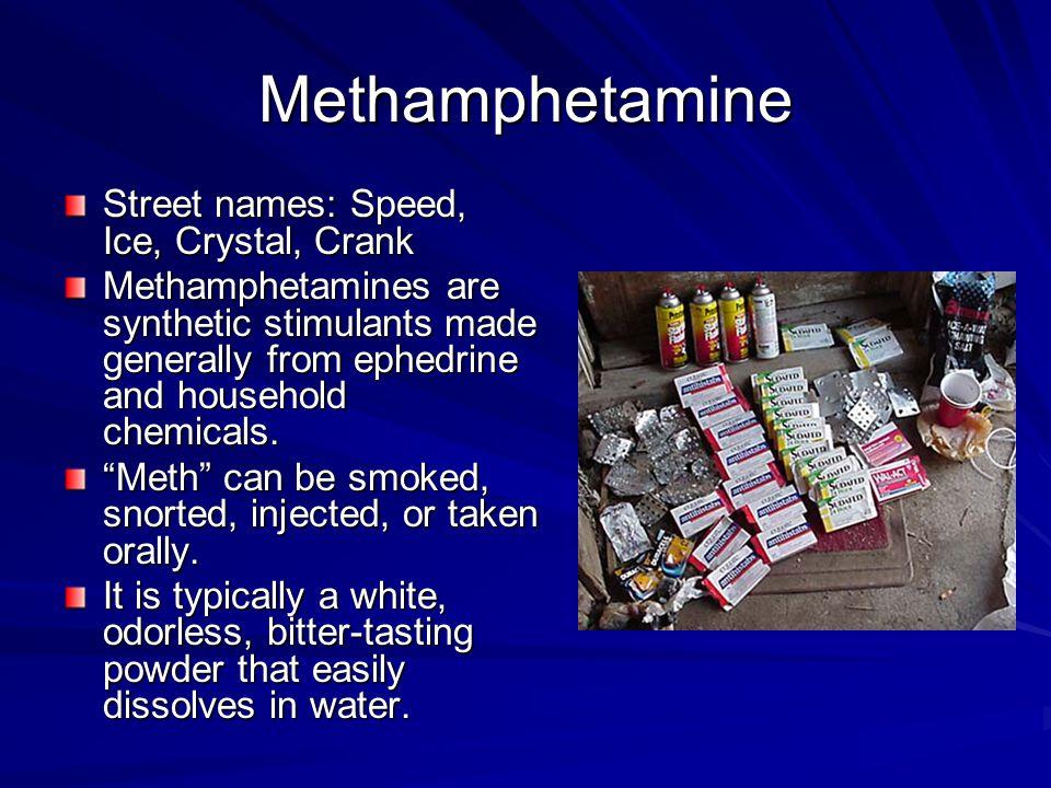 Methamphetamine Street names: Speed, Ice, Crystal, Crank