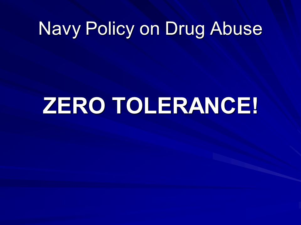Navy Policy on Drug Abuse