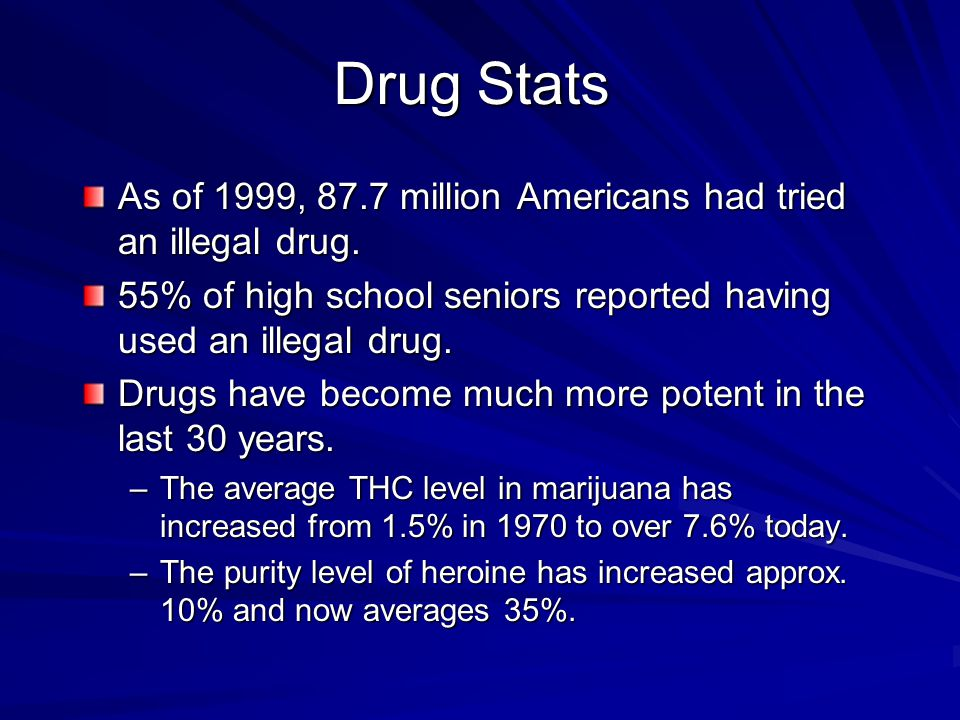 Drug Stats As of 1999, 87.7 million Americans had tried an illegal drug. 55% of high school seniors reported having used an illegal drug.
