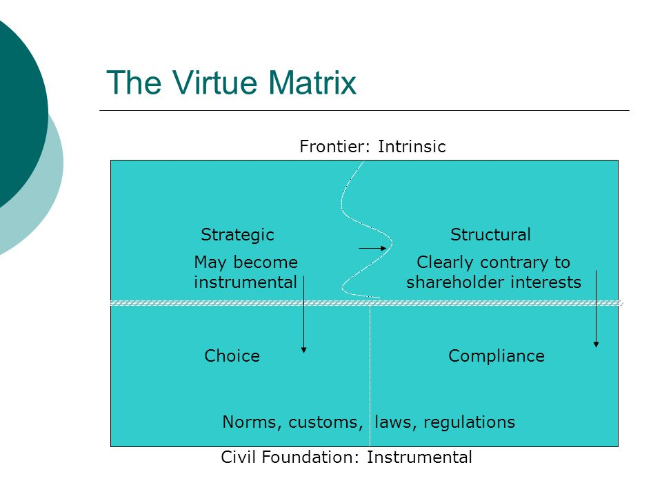 The Virtue Matrix Frontier: Intrinsic Strategic Structural