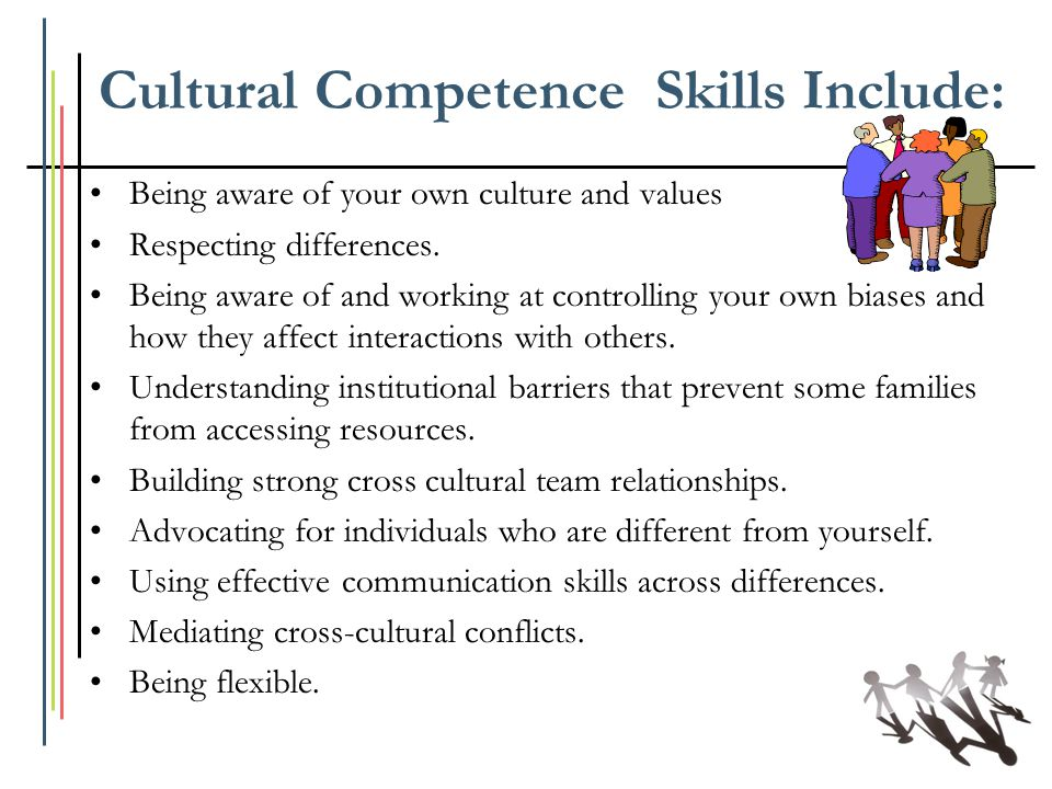 Cultural Competence Skills Include: