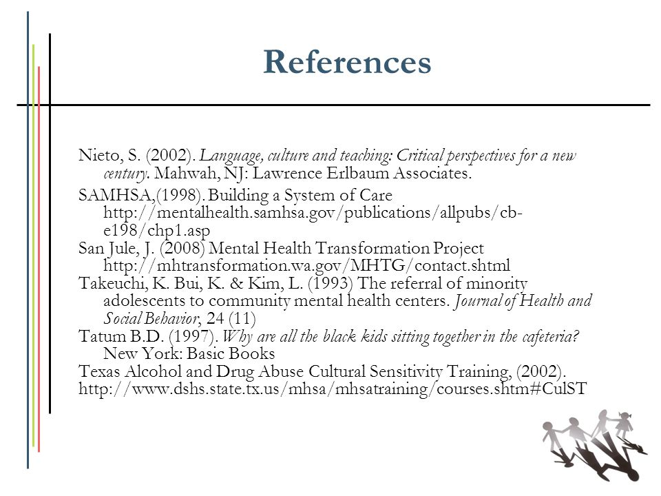 References Nieto, S. (2002). Language, culture and teaching: Critical perspectives for a new century. Mahwah, NJ: Lawrence Erlbaum Associates.