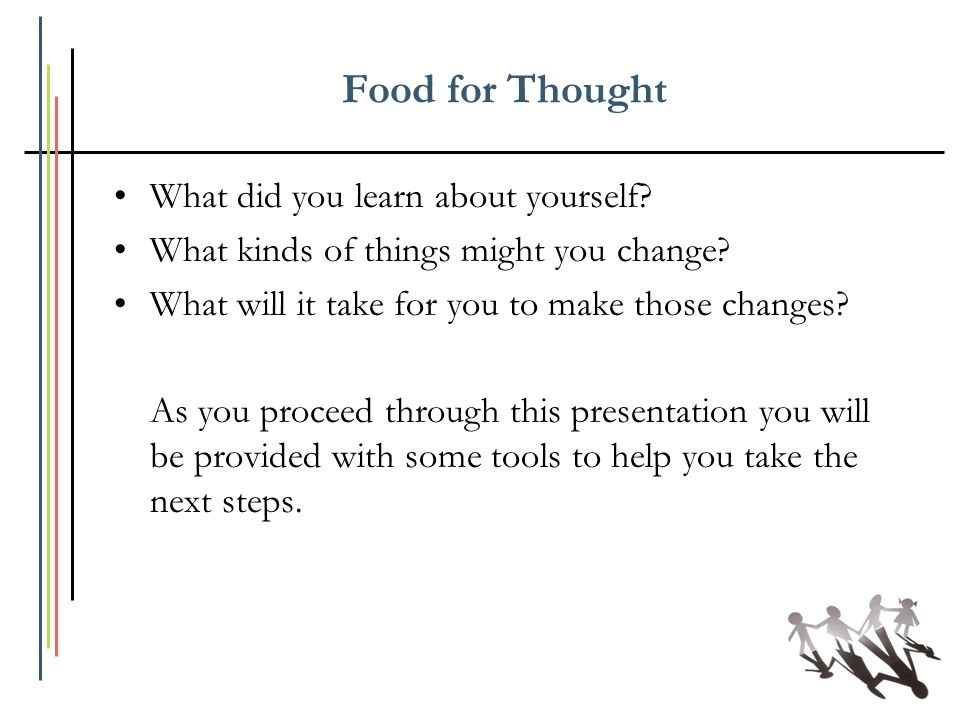Food for Thought What did you learn about yourself