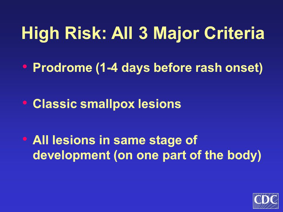 High Risk: All 3 Major Criteria