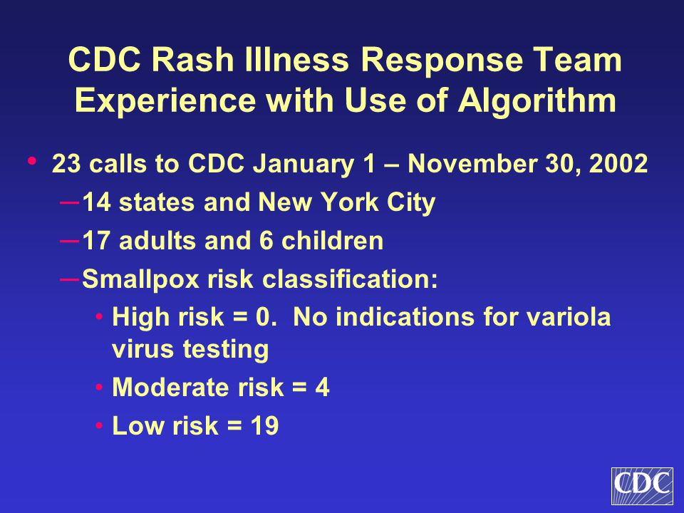 CDC Rash Illness Response Team Experience with Use of Algorithm