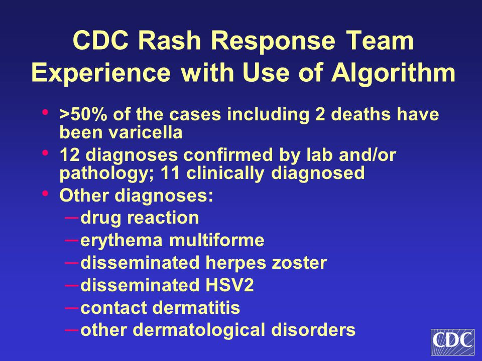 CDC Rash Response Team Experience with Use of Algorithm