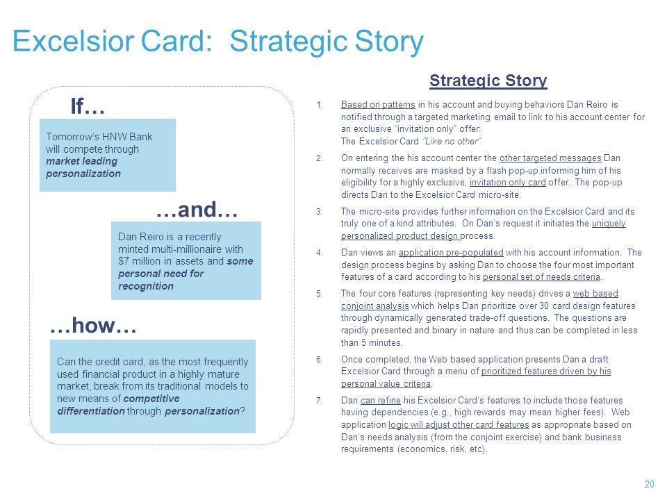 Excelsior Card: Strategic Story