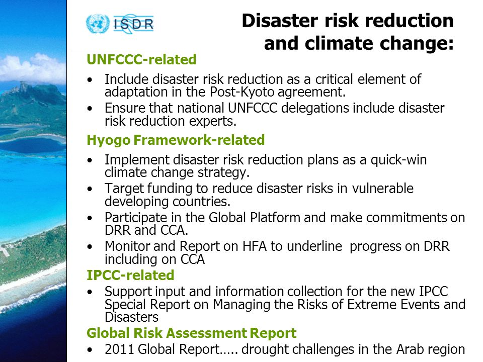 Disaster risk reduction and climate change: