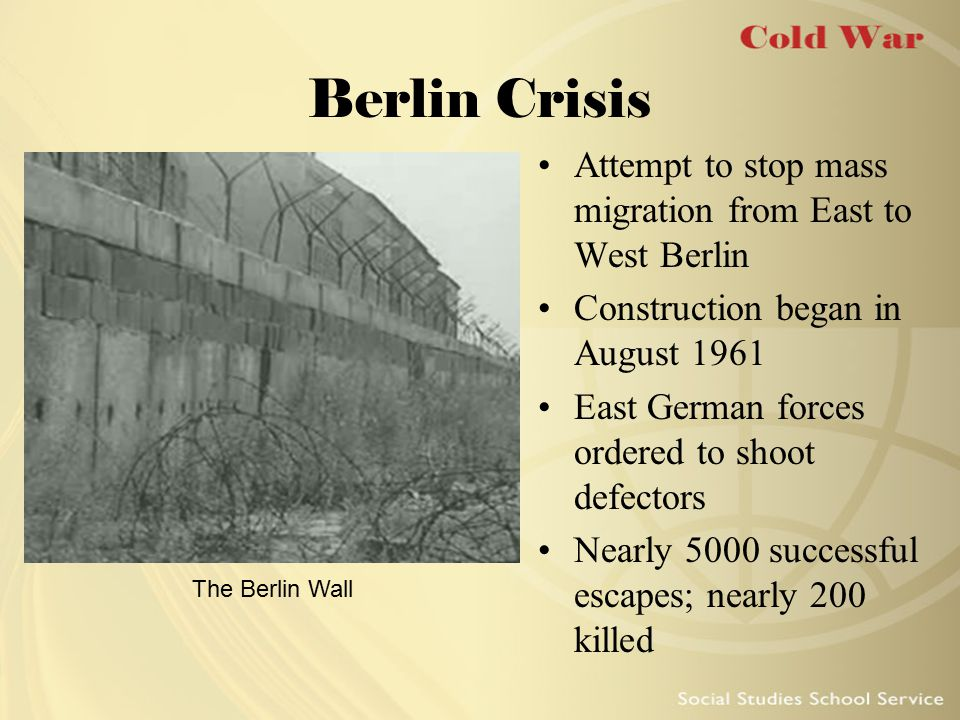 Berlin Crisis Attempt to stop mass migration from East to West Berlin