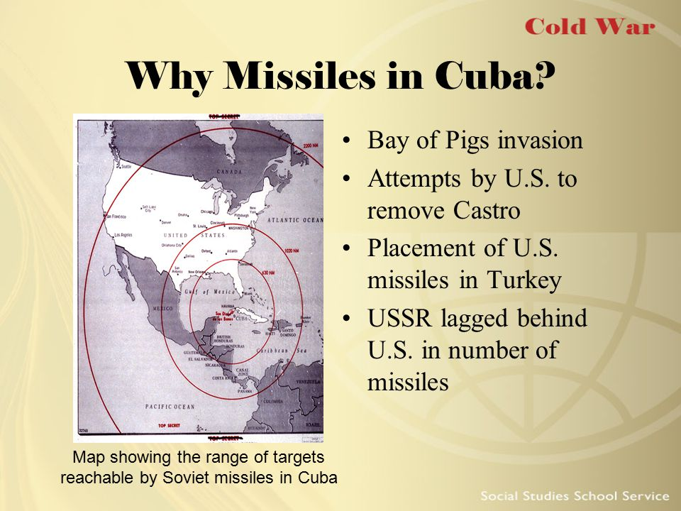 Map showing the range of targets reachable by Soviet missiles in Cuba
