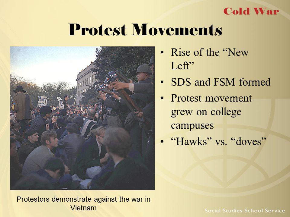 Protestors demonstrate against the war in Vietnam