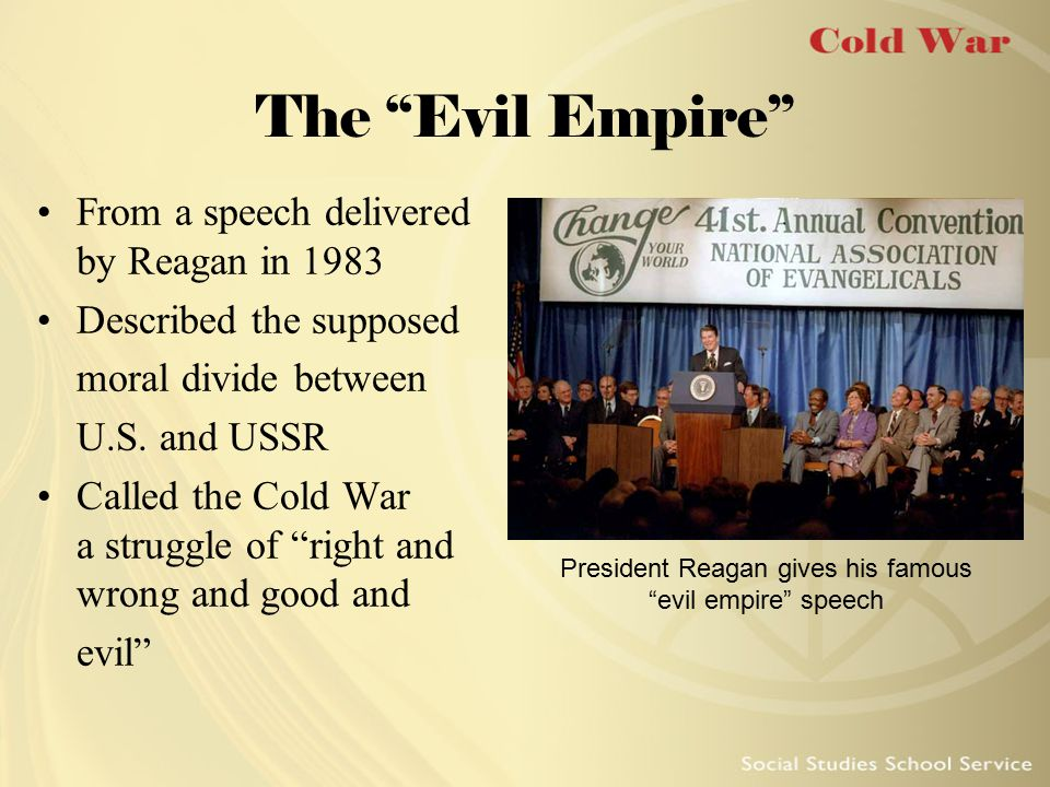 President Reagan gives his famous evil empire speech