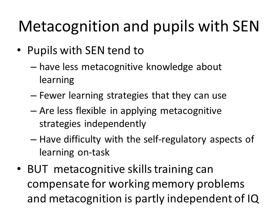 Metacognition and pupils with SEN