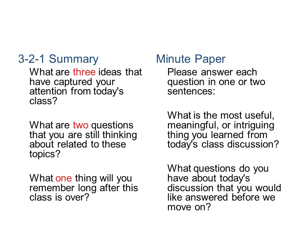 3-2-1 Summary Minute Paper