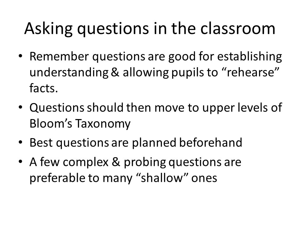 Asking questions in the classroom