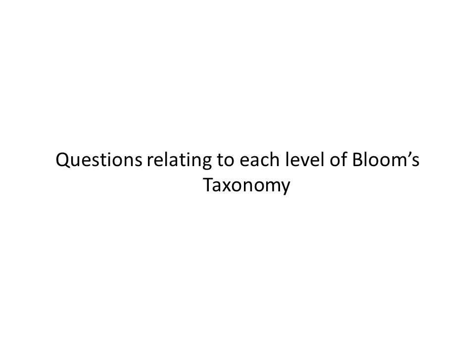 Questions relating to each level of Bloom's Taxonomy