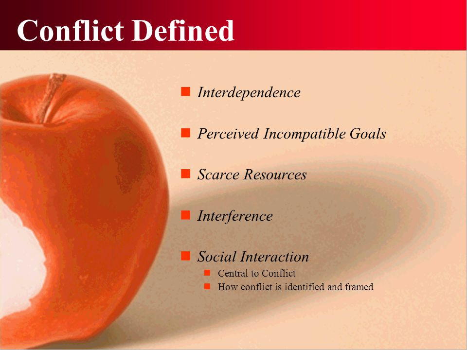Conflict Defined Interdependence Perceived Incompatible Goals