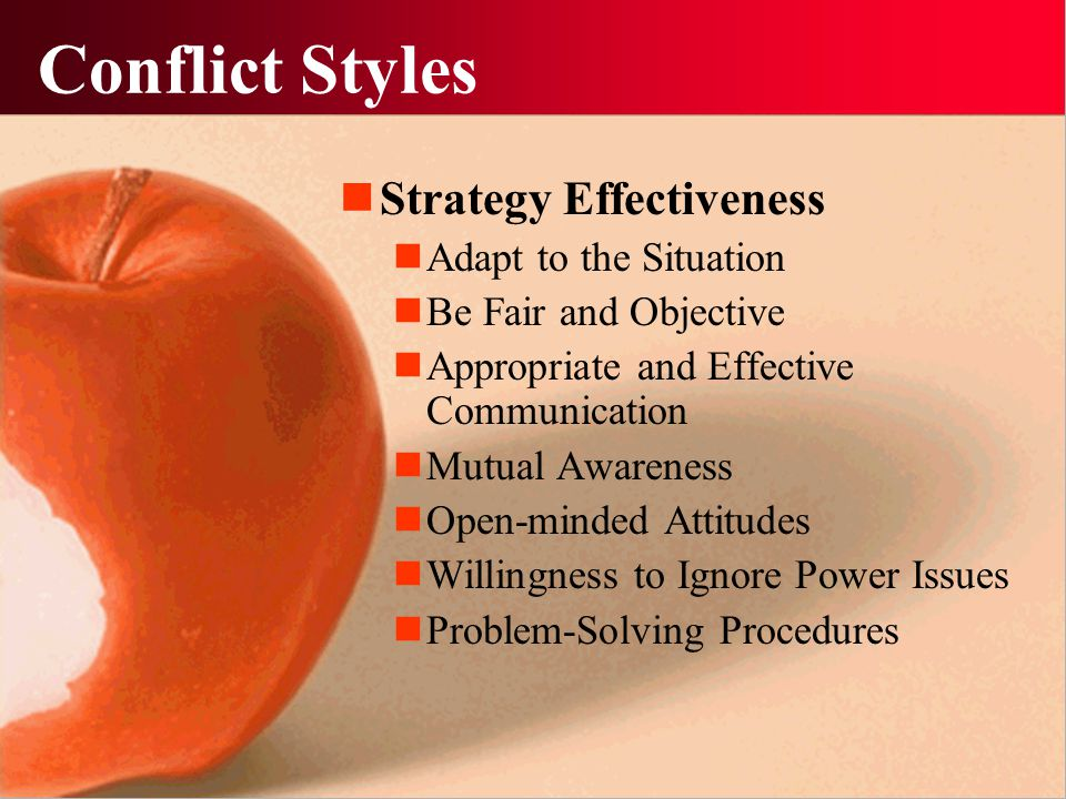Conflict Styles Strategy Effectiveness Adapt to the Situation