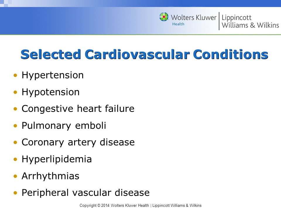 Selected Cardiovascular Conditions
