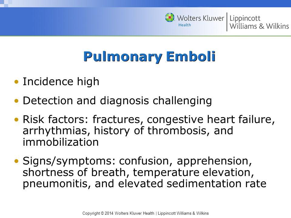 Pulmonary Emboli Incidence high Detection and diagnosis challenging