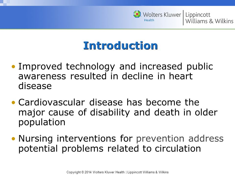 Introduction Improved technology and increased public awareness resulted in decline in heart disease.