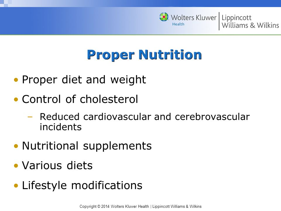 Proper Nutrition Proper diet and weight Control of cholesterol