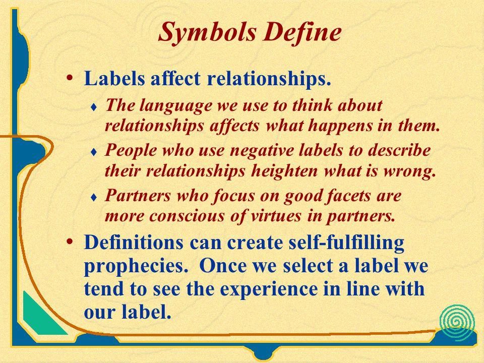 Symbols Define Labels affect relationships.