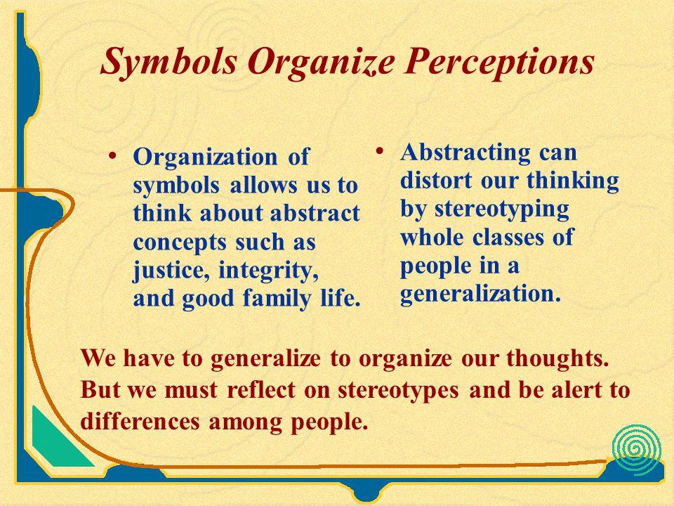 Symbols Organize Perceptions