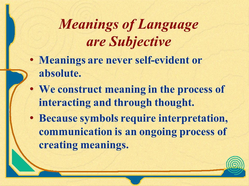 Meanings of Language are Subjective