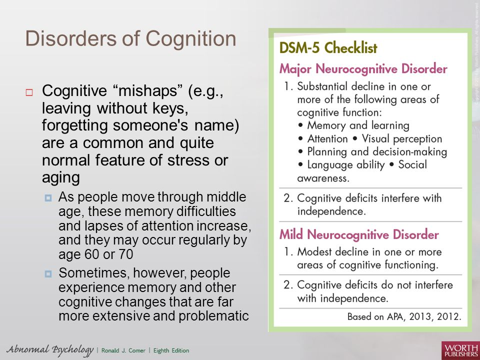 Disorders of Cognition