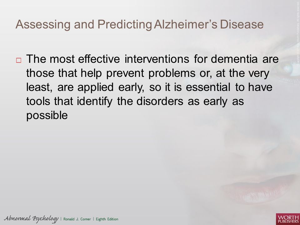 Assessing and Predicting Alzheimer's Disease